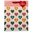 Valentine's Day International Greetings Hearts Gift Bag, Multi-Colored