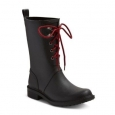 Merona Women's Hannah Lace Up Mid Calf Rain Boots - Black - Size:8