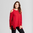 Women's Cold Shoulder Sharkbite Sweater Knox Rose Red Xxl