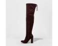 A Day Women's Penelope Heeled Over The Knee Boots - Burgundy -size:9.5