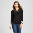 Women's Metallic Embroidered Lace Hem Top - Knox Rose Black XL