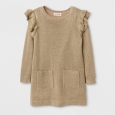 Toddler Girls' Crew Neck Sweater Dress Cat & Jack - Gold 18M