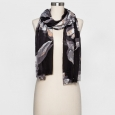 Women's Floral Scarf - A New Day Black One Size, Black/White