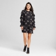 Women's Flounce Long Sleeve Shift Dress - Mossimo Black Print L