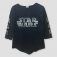 Girls' Star Wars Forces Of Destiny Hi Low 3/4 Sleeve T-Shirt - Black M
