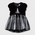 Toddler Girls' A Line Dress - Cat & Jack Black and White With Velour Shrug 5T
