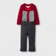 Baby Boys' Bowtie Jersey and Pants Set - Cat & Jack Red Ribbon 3-6 M