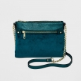 A Day Women Purse Green Long Strap Top Zip Cross Body