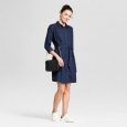 Women's Denim Shirt Dress - A Day&153; Dark Blue Xl