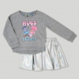 Toddler Girls' Trolls Reversible Sweatshirt And Tutu Set - Heather Gray 4t