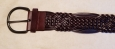 Mossimo Belt M Brown Bonded Leather Wide Woven Pattern 39""