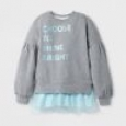 Girls' Long Sleeve Tunic Sweatshirt - Cat & Jack Gray/aqua L
