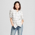 Women's Long Sleeve Plaid Any Day Tunic - A Day Gray Xs
