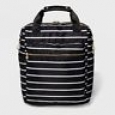 Women's Striped Printed Nylon Backpack Handbag - A Day White/black
