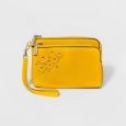 Women's Wristlet Double-Zip Floral Pouch - A New Day Yellow