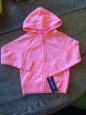 Girls Cherokee Hooded Bright Orange Pink Peach Zip Up Sweatshirt Jacket 18m