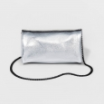 Mossimo Supply Silver Metallic Foldover Clutch Bag W/ Removable Crossbody Chain