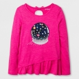 Girls' Long Sleeve Space Globe Graphic T-Shirt - Cat & Jack Pink L