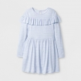 Girls' Stripe Ruffle Dress - Cat & Jack Blue XL