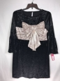 Xhilaration Womens Large Black Velvet/silver Bow Formal/holiday/classy Dress