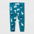 Baby Girls' Bunnies Legging - Cat & Jack Teal NB, Blue