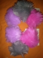 Cat & Jack Set Of 6 Faux Fur Pom Pony Elastic Hair Ties Purple, Gray, Pink