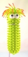 "Green Caterpillar Light-up Squishy Stretchable 10"" Water Toy With Hanging Loop"