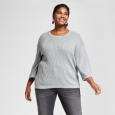 Women's Plus Size 3/4 Sleeve Shine Pullover - Ava & Viv Silver 4x