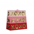 Square Gift Bag Xoxo Print On Stripes - Spritz, Pink