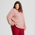 Women's Plus Size Bishop Sleeve Fuzzy Pullover Sweater - A New Day Light Pink 3X