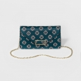 Women's Floral Foldover Clutch - A New Day Navy, Size: Small, Turquoise