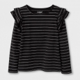 Girls' Shine Stripe Long Sleeve Ruffle Top - Cat & Jack Black XS