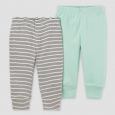 Baby 2 Pack Pants Mint Green NB - Precious Firsts Made by Carter's