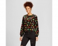 Women's Velvet Printed Sweatshirt - Xhilaration (juniors) Large Black
