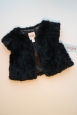 Cat & Jack Ebony Black Faux Fur Vest Girls Xs 4/5