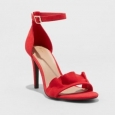 A Day Women's Sandi Ruffle Heel Sandal Pumps - Red - Size:8
