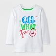 Toddler Boys' Long Sleeve Oh What Fun Graphic T-Shirt - Cat & Jack White 4T