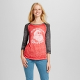 Women's Old School Wrapper Holiday Graphic T-Shirt - Zoe+Liv (Juniors') Red M