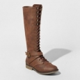 Women's Magda Lace-up Tall Boots - Mossimo Supply Co.&153; Brown 6.5