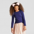 Girls' Shine Long Sleeve Bow Top - Cat & Jack Navy (Blue) S