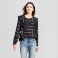 Women's Plaid Ruffle Shirt - A New Day Black Xxl