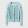 Girls' Long Sleeve Cardigan - Cat & Jack Bleached Aqua XS, Green