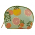 Contents Citrus Floral Round Top Cosmetic Bag, Multi-Colored