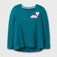 Girls' Patches Cozy Pullover - Cat & Jack Teal XS, Blue