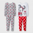Toddler Girls' 4pc Disney Minnie Mouse Pajama Set - White 4T