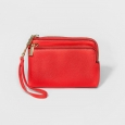 Women's Wristlet Double-Zip Pouch - A New Day Red
