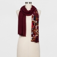 Women's Floral Scarf - A New Day Maroon (Red) One Size
