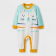 Toddle Boys' Cat Face Stripe Long Sleeve Romper - Cat & Jack Almond Cream 0-3M,