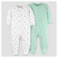 Baby Girls' 2pk Sleep N' Play - Just One You Made by Carter's Mint/Off-White 9