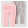 Baby Girls' 2pk Pants - Just One You Made by Carter's Gray/Pink Floral NB